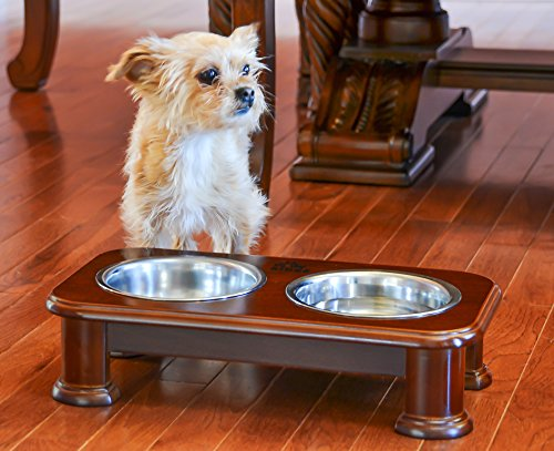 Premium Elevated Pet Feeder By Pawridge - Luxury Solid Wood Stand elevated dog bowl & 2 Food Grade Stainless Steel dog Bowls - Improves Your Pet's Digestion - Suitable For Small / Medium Dogs & Cats by Pawridge (Image #3)