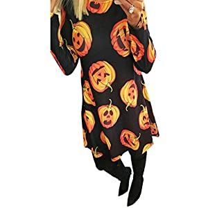 Clearoy Women's Halloween Pumpkin Spider Skeleton Print Pullover Swing A-Line Dress