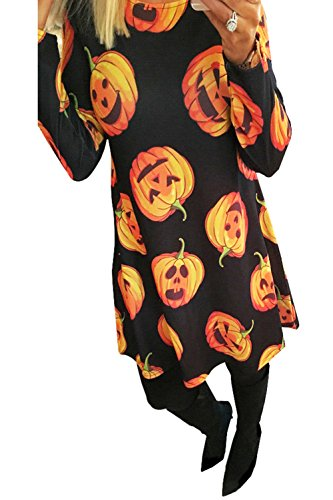 Clearoy Women's Halloween Pumpkin Spider Skeleton Print Pullover Swing A-Line Dress S
