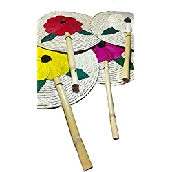 13'' Palm Hand Fans, 4 Colors Pack Palm Leaf Hand Fans, Bundle Decorative Handfan, Wicker Floral Fan, Fiesta Party, Floral Handfan, Handmade Palm Fans, Perfect Wedding Favor Fans,