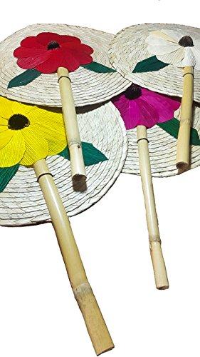 13'' Palm Hand Fans, 4 Colors Pack Palm Leaf Hand Fans, Bundle Decorative Handfan, Wicker Floral Fan, Fiesta Party, Floral Handfan, Handmade Palm Fans, Perfect Wedding Favor Fans,]()