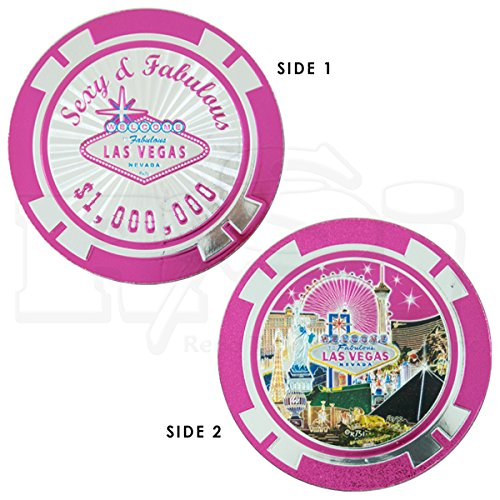 (LAS VEGAS SEXY & FABULOUS PINK FOILED MILLION DOLLAR POKER CHIP STYLE MAGNET (2 SIDED))