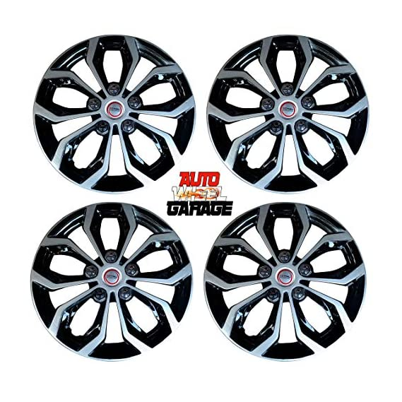 Hotwheelz Sporty Dual Color Silver Black 14-inch Wheel Cover with Rings(Set of 4pc, Glossy Silver Black)