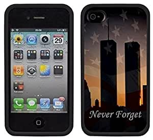 9-11 September 11th Twin Towers Never Forget Handmade iPhone 4 4S Black Case