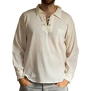 Camicia estiva in cotone leggera con cordoncino prodotta tramite commercio etico.