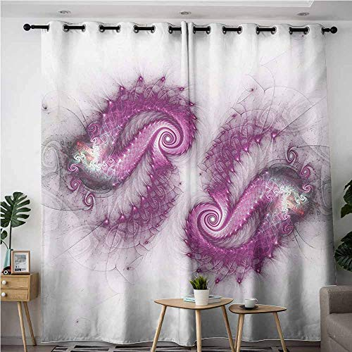 (Willsd Curtains for Bedroom,Spires Psychedelic Design Bizarre Helix Lettering Pattern with Illuminations Futuristic Image,Grommet Curtains for Bedroom,W96x72L,Purple)