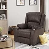 Sophia Traditional Dark Brown Leather Recliner with Steel Cup Holders