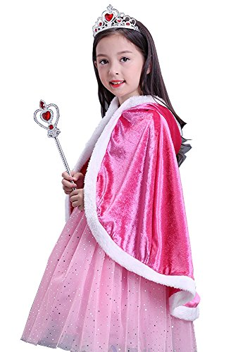 About Time Co Snow Princess Hooded Cape Cloak Costume ((110) 2-3 Years, Pink)]()
