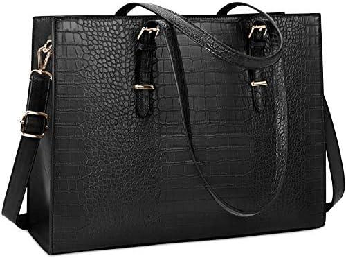 Laptop Bag for Women 15.6 inch Laptop Tote Bag Leather Classy Computer Briefcase for Work Waterproof Handbag Professional Shoulder Bag Women Business Office Bag Large Capacity Black
