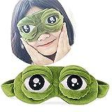 3D Cute Frog Sleep Eye Mask Green Cartoon Sad Frog