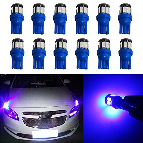 YaaGoo Compact Small bulb License Plate Lights Lamp,T10 168 194 2825 W5W,blue,12pcs ()