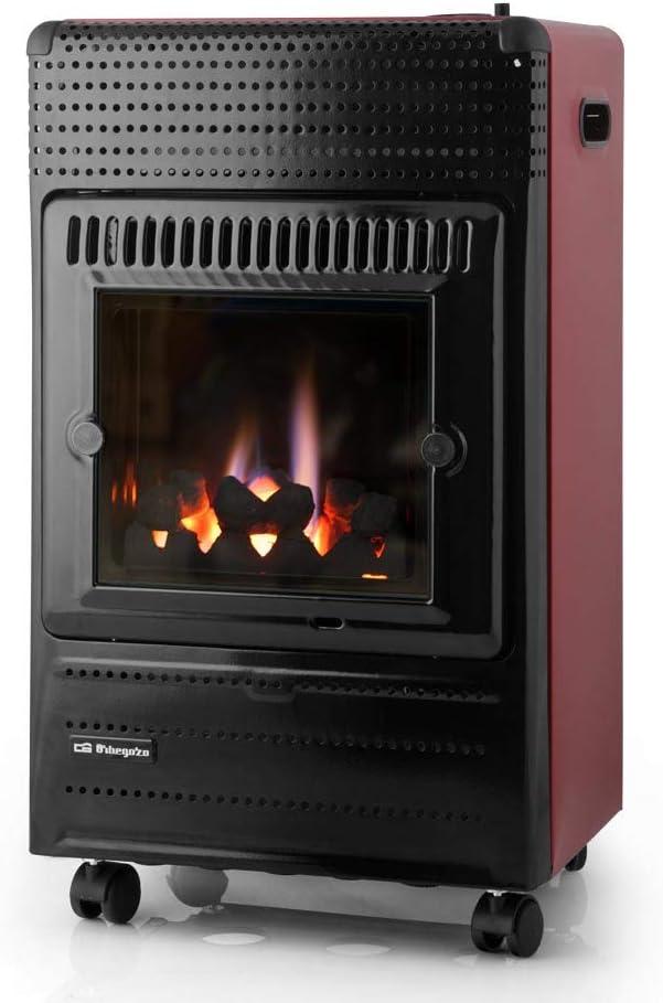 ElectrodomesticosN1 Estufa de Gas Orbegozo HBF 95 Llama Azul, 3400W + Regulador de Gas butano HVG, Tubo Manguera 0,8 Metros, Abrazaderas