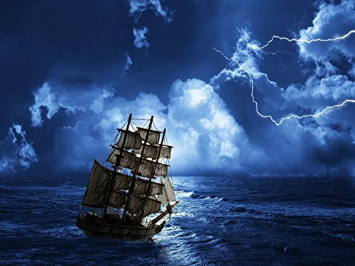 Lightning Sailboat - DZJYQ 6.5x5ft(2x1.5m) Gorgeous Night Sky Cloud Sea Ocean Dazzling Lightning Pirate Sailboat Cruise Ship Holiday Tour Festival Birthday Party Wedding Decoration Backdrop Photography Background 66