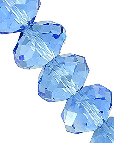 - Linpeng 440pcs 4x6mm Faceted Rondelle Crystal Beads for Jewelry Making Blue Topaz