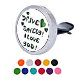 """HOUSWEETY """"DRIVE SAFELY I LOVE YOU"""" Car Air Freshener Aromatherapy Essential Oil Diffuser Locket With Vent Clip - 11 Refill Pads"""