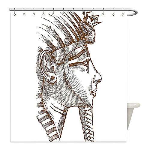 Diy Pharaoh Costume (Liguo88 Custom Waterproof Bathroom Shower Curtain Polyester Ancient Decor Egyptian Tutankhamun Pharaoh Profile Necropolis King Traditional Icon Design Cocoa White Decorative bathroom)