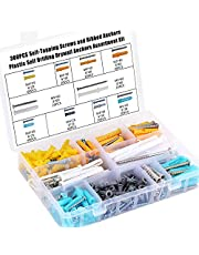 HSEAMALL Assortiment, set van 300 stuks pluggen en schroeven, zelftappende schroeven, assortiment kit, expansion tube schroevenset, geribbeld verankerd