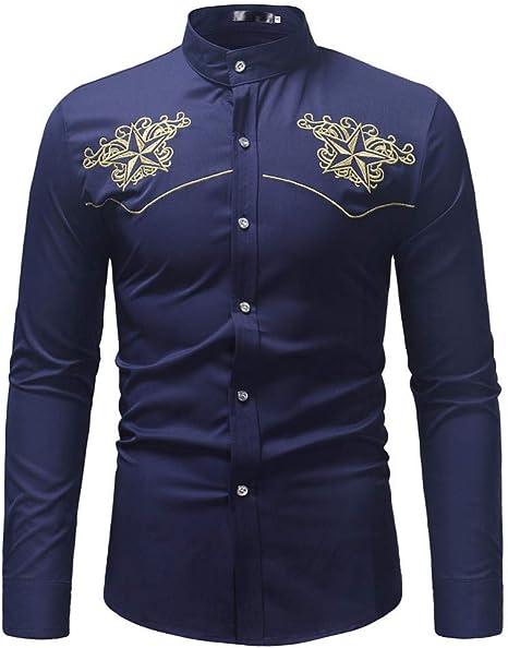 CHENS Camisa/Casual/Unisex/XL Hombres Camisas de Manga Larga Regular Fit Talla Grande Moda Bordado Manga Larga Camisa con Cuello Alto Top Blusa: Amazon.es: Deportes y aire libre