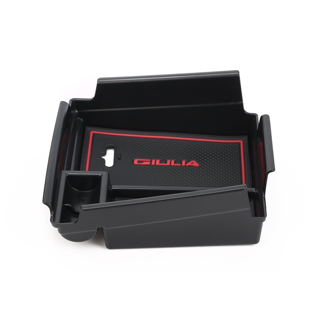 Vesul Black Front Row Door Side Storage Box Handle Armrest Phone Container Fits on Alfa Romeo Giulia Sedan 2017 2018 2019 4350408882