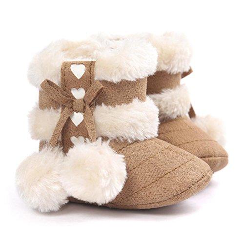 Tefamore zapatos niña, botas de antideslizante de sole suave de moda invierno de calentar para chicas Caqui