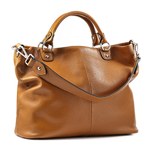 Kattee Women's Soft Genuine Leather 3-Way Satchel Tote Handbag Brown