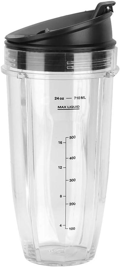 DERCLIVE Kit de Parte de Licuadora Cup + Lid para Reemplazo de Accesorio de Licuadora Ninja 900W 1000W Transparente