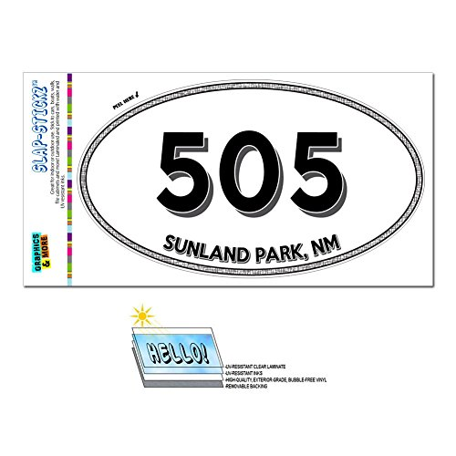 Graphics and More Area Code Euro Oval Window Laminated Sticker 505 New Mexico NM Quay - Taiban - Sunland - Sunland Park