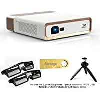 Salange F1 Smart Home Projector with 1080P FHD, DLP Android ,1200 LMS 1920x1080P Resolution Support 3D 2K 4K DLP Projector,Include 3D Glasses,16G Disk and Tripod