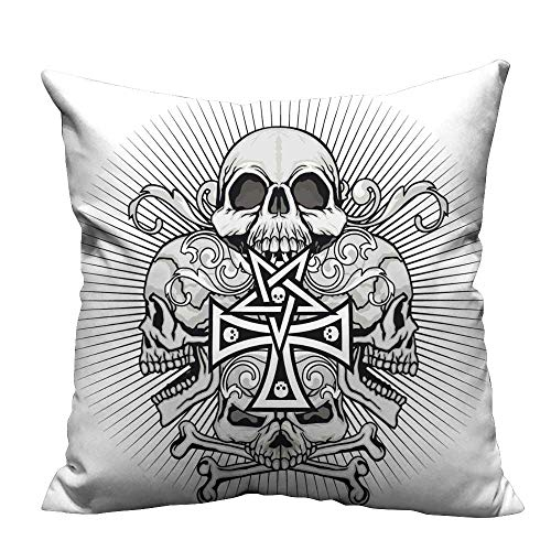 YouXianHome Print Bed Pillowcases gothi Coat rms Skull Cross Grunge Vintage Design t Shirts Washable and Hypoallergenic(Double-Sided Printing) 21.5x21.5 inch