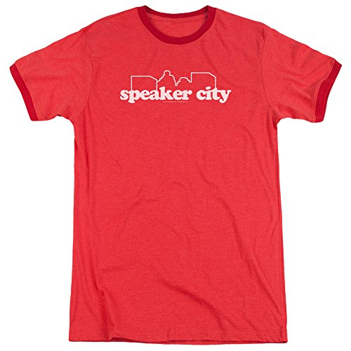 Old School Speaker City Logo Unisex Adult Ringer T Shirt for Men and Women, Large Red