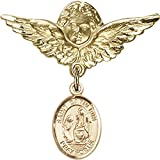 14kt Yellow Gold Baby Badge with St. Catherine of Siena Charm and Angel w/Wings Badge Pin 1 1/8 X 1 1/8 inches