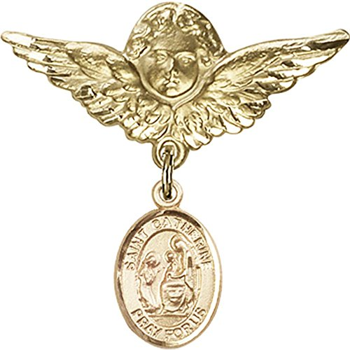 14kt Yellow Gold Baby Badge with St. Catherine of Siena Charm and Angel w/Wings Badge Pin 1 1/8 X 1 1/8 inches by Unknown