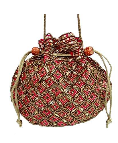 Costume Indian Bridal Jewelry (Wedding Women Purse Party Designer Bridal Clutch / Jewelry Pouch / Indian Evening Potli Handbag)