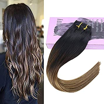 Vesunny 20inch Clip Hair Extensions Human Hair Balayage Black To Brown Mixed Blonde Highlights Clip In