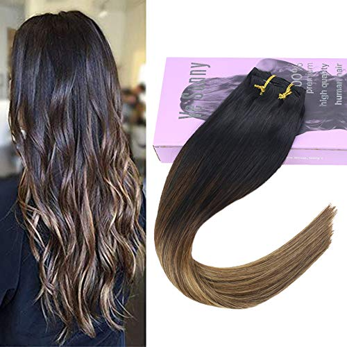 VeSunny 16inch Balayage Clip in Remy Human Hair Extensions Balayage Colored Black Fading to Dark Brown Highlight Caramel Blonde Silky Straight Full Head for Beautiful Hairstyle 7pcs/120gram