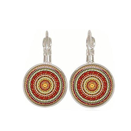 DZT1968 Women Elegant National kaleidoscope Dangle Stud Earrings Charm Hook Jewelry (Plastic Yellow Earrings)
