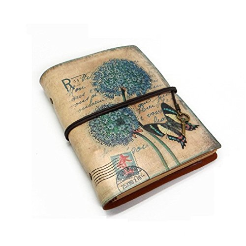 Loghot A6 Notebook European Retro Vellum Paper Refillable Binders Diary Multi-function Travel Writing 30 Sheets (Dandelion Army Green)