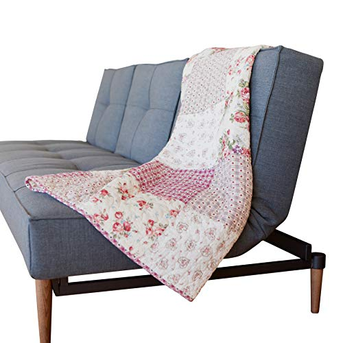 SLPR Country Roses Cotton Real Patchwork Quilted Throw (50