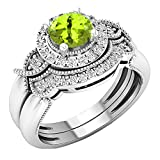 Dazzlingrock Collection 10K 6 MM Round Peridot & White Diamond Ladies Halo Engagement Ring Set, White Gold, Size 8