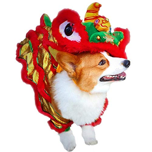 PanDaDa Dog Costume Lion Dance Dragon dancec Clothing,Festive Costume,Chinese New Yea Costume, Pet Makeover Funny Clothes Red Lucky Cosplay Costume (Best Chinese Lion Dance)