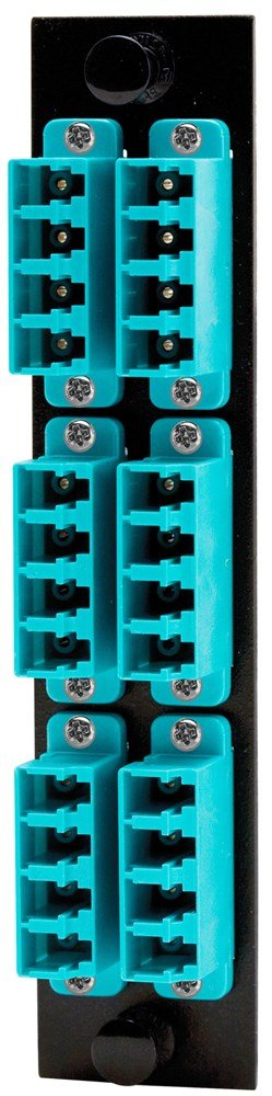 Hubbell HUBFSPLCQM6AQ Adapter Panel, 24-Fiber, 6 LC Quad, Phosphor Bronze, Aqua by Hubbell