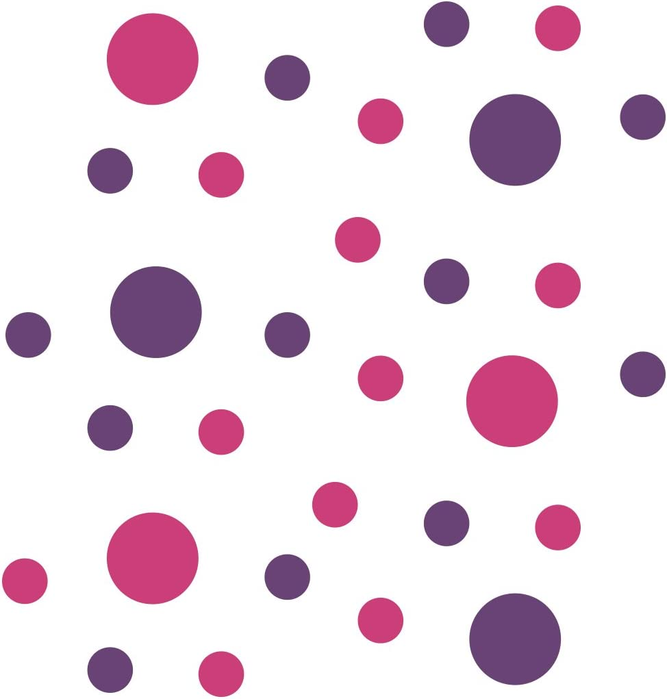 Hot Pink/Purple Vinyl Wall Stickers - 2 & 4 inch Circles (30 Decals)