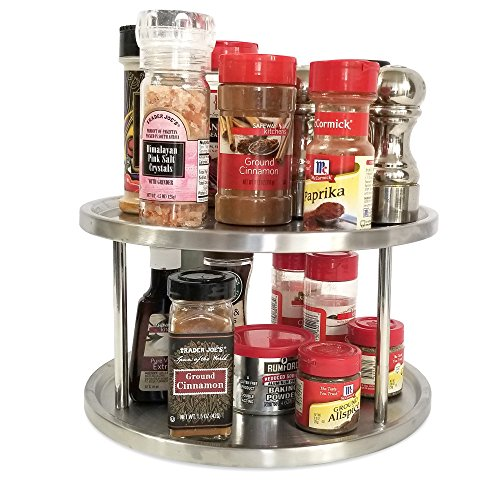 Lazy susan 10 inch two tier turntable spice rack cabinet organizer also for appetizer tray art - Spice rack for lazy susan cabinet ...