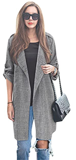 Doreen Womens Roll UP Sleeve Open Front Cardigan Draped Trench Coat Jacket Size S Grey