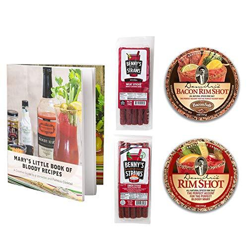 Bloody Mary Garnishing Kit - 2x Demitri's Flavored Rim Salt (Spiced Salt & Bacon Salt) -2x Benny's Snack Straws - Pack of 5 (Original & Chipotle) W/Recipe Booklet ()
