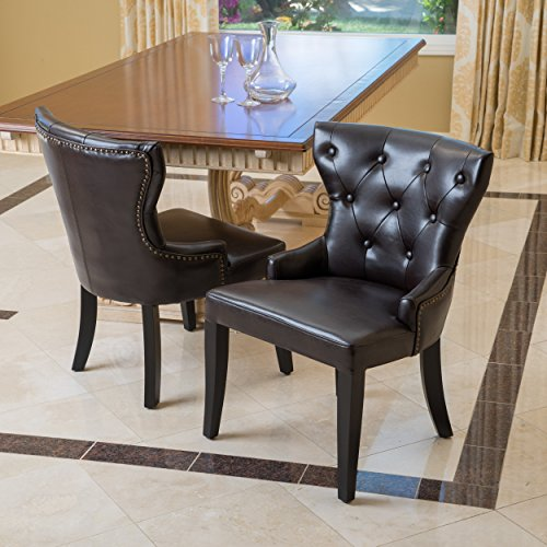 Christopher Knight Home 237490 Kingdom Leather Accent Chairs (Set of 2), Brown (Leather Set Studded)