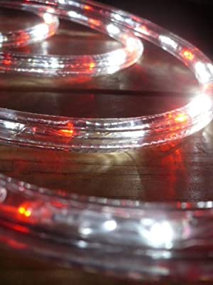 LED ROPE LIGHT 3-WIRE CHASING, VIVID RED AND PURE WHITE LED ROPE LIGHT KIT FOR 120V, Christmas Lighting, Outdoor Rope Lighting