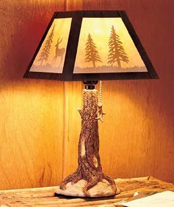 Tree Trunk Lamp Deer Rustic Country Lodge Cabin Decor