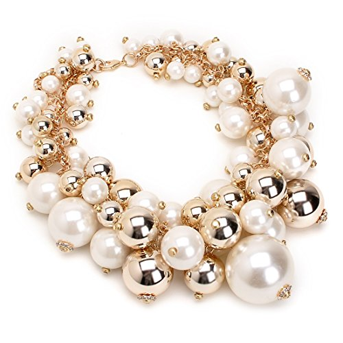 White Pearl Ball Cluster Necklace (Fashion Gold Tone White Chain Simulated Pearl Resin Bead Ball Crystal Choker Cluster Bib Necklace)