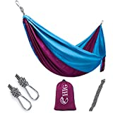 HIG Outdoor Camping Hammock - Double Parachute Lightweight Nylon Portable Hammock with Wtraps & Carabiners For Backpacking, Camping, Travel, Beach, Yard